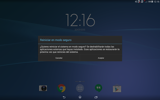 Tablet Android Modo Seguro